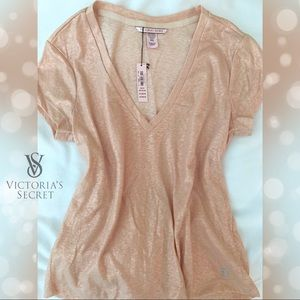 Victoria's Secret V-neck Tee: Sugar Baby Rose Gold